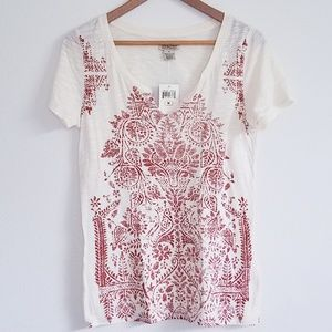 NWT Lucky Brand Tribal Print Short Sleeve Tee